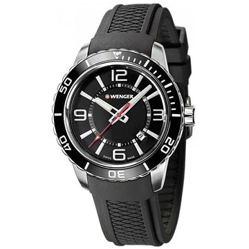 Wenger 01.0851.117 Men's Roadster Black Silicone Strap Swiss Quartz Black Dial Date Watch