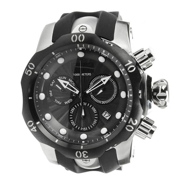 Invicta Men's Chronograph Watch - Venom Black Dial Steel & Rubber Strap Swiss | 25900