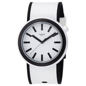 Swatch PNW100 Men's Popmoving White Dial Black & White Silicone Strap Watch