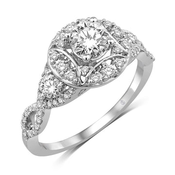 14K White Gold 1 1/10 Ct.Tw Engagement Ring