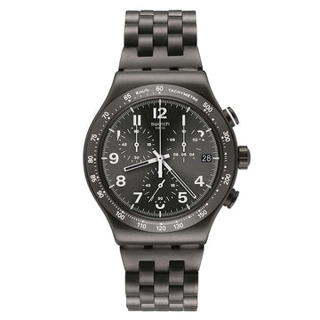 Swatch YVM402G Men's Archi-Mix Destination Soho Grey IP Steel Bracelet Chrono Grey Dial Date Watch