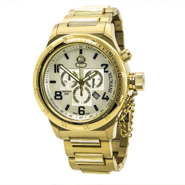 Invicta 15473 Men's Yellow Steel Bracelet Swiss Russian Diver Chrono Champagne Dial Date Watch