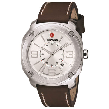 Wenger 01.1051.101 Men's Escort Silver Dial Brown Leather Strap Watch