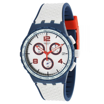 Swatch SUSN411 Men's Archi-Mix Humpy Bumpy Grey & Blue Silicone Strap Chrono Silver Dial Date Watch