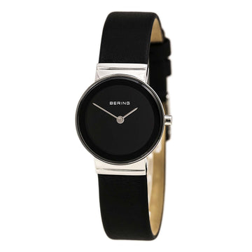 Bering 10126-402 Women's Classic Black Dial Black Calfskin Leather Strap Watch