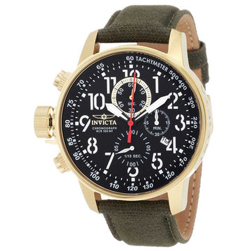 Invicta Men's Chronograph Watch - I-Force Lefty Canvas Strap Black Dial Date | 1875