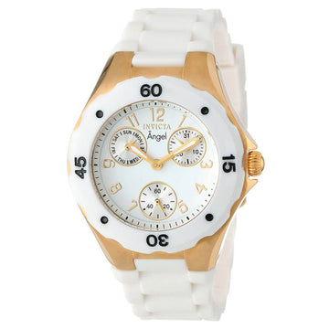 Invicta 0718 Women's Angel White Dial Polyurethane Strap Watch