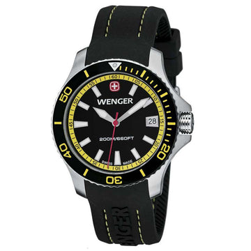 Wenger 0621.101 Women's Sea Force Yellow Accents Black Dial Silicon Rubber Strap Watch