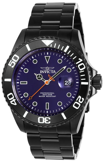 Invicta 23008 Men's Pro Diver Blue Dial Black IP Steel Dive Watch