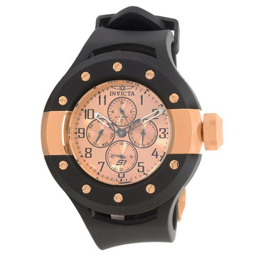 Invicta 17393 Men's Black Polyurethane Strap Quartz S1 Rally Rose Gold Dial Day-Date Watch