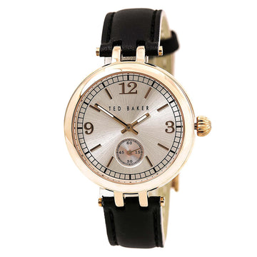 Ted Baker 10027797 Women's Smart Casual Black Leather Strap Quartz Gold Tone Sunray Dial Watch
