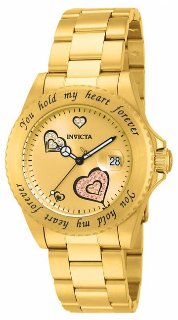Invicta Women's Yellow Gold Steel Crystal Watch - Angel Quartz Gold Dial | 14732