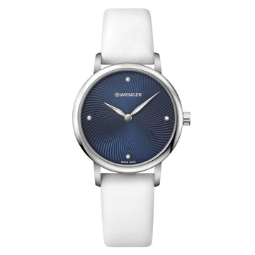 Wenger 01.1721.106 Women's Urban Donnissima Blue Dial White Satin Strap Crystal Watch