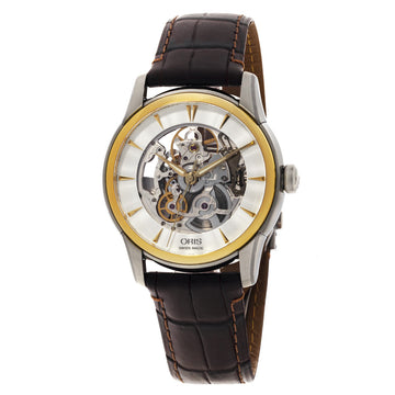 Oris 73476704351LS Men's Artelier Silver Semi-Skeleton Dial Brown Leather