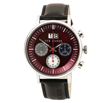Ted Baker 10024798 Men's Dress Sport Black Leather Strap Quartz Chronograph Brown Dial Date Watch