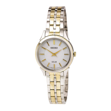 Seiko SUP344 Women's Solar Two Tone Steel White Dial Power Reserve Watch