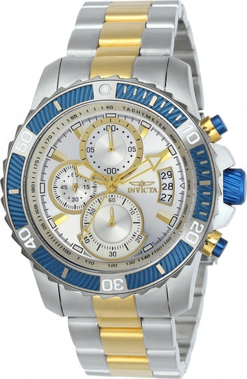 Invicta 23994 Men's Two Tone Yellow Bracelet Quartz Pro Diver Chrono Silver Dial Date Watch