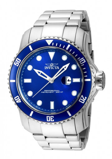 Invicta 15076 Mens Pro Diver Blue Bezel Blue Dial Steel Bracelet Dive Watch