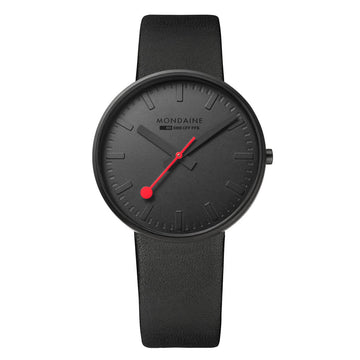 Mondaine Men's Quartz Watch - Giant Black Dial Black Leather | A660.30328.64SBO
