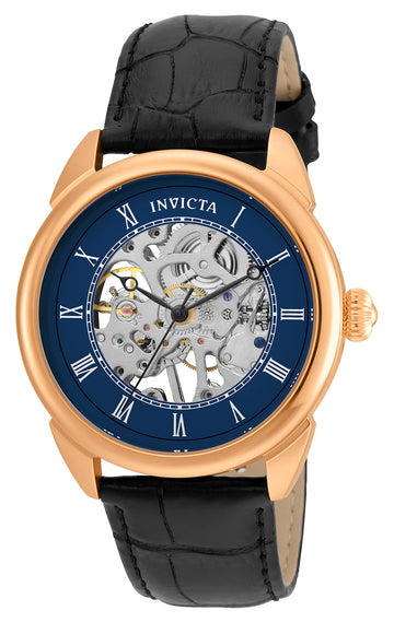 Invicta 23538 Men's Black Leather Band Mechanical Specialty Blue-Silver Semi-Skeleton Dial Watch