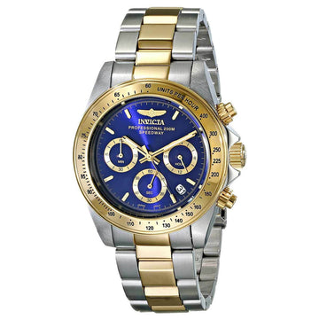 Invicta Men's Chronograph Two Tone Watch - Speedway Quartz Blue Dial Date | 3644