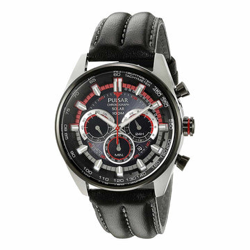 Pulsar PX5031 Men's On The Go Solar Chronograph Black Dial Power Reserve Black Leather Strap Watch