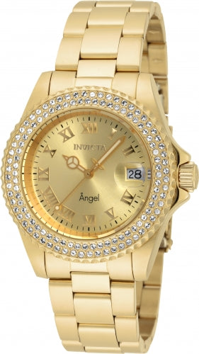 Invicta Women's Angel Yellow Gold Steel Crystal Watch - Quartz Gold Dial Dive | 19513