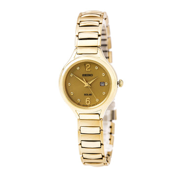 Seiko SUT180 Women's Core Solar Power Reserve Gold Dial Yellow Gold Steel Expansion Bracelet Watch