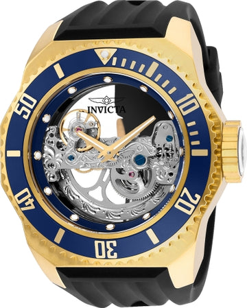 Invicta Men's Automatic Watch - Russian Diver Black Band Silver Skeleton Dial | 25626