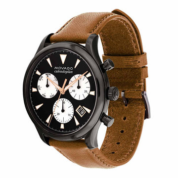 Movado Men's Chronograph Watch - Heritage Calendoplan Cognac Leather Strap | 3650022