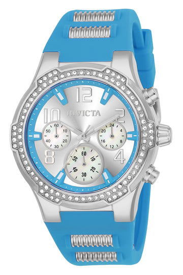 Invicta 24202 Women's BLU Silver Dial Steel & Light Blue Silicone Strap Chronograph Crystal Watch