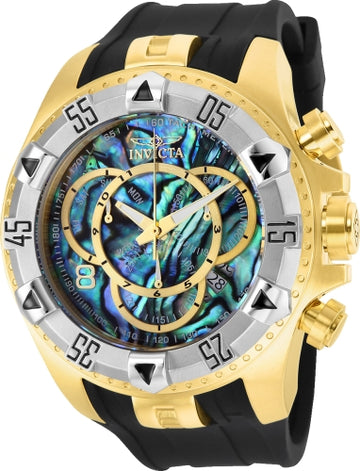Invicta 25017 Men's Excursion Chronograph Blue Abalone Dial Black Silicone Strap Dive Watch