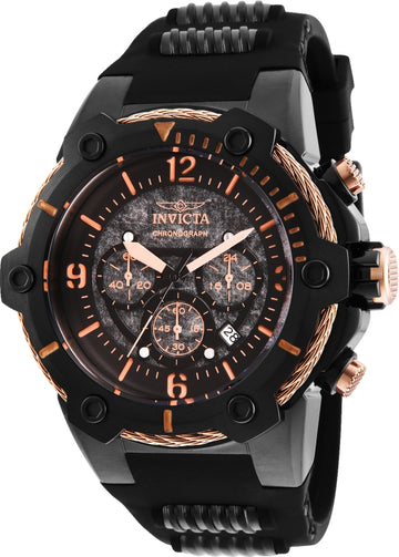 Invicta Men's Chronograph Watch - Bolt Black Dial Steel & Polyurethane Strap | 25469