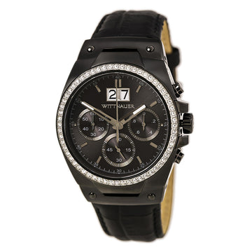Wittnauer WN1012 Men's Gunmetal IP Steel Black Leather Strap Chronograph Gunmetal Dial Crystal Watch