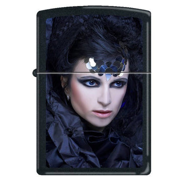 Zippo 0246 Gothic Lady in Black Classic Black Matte Powdercoat Windproof Pocket Lighter