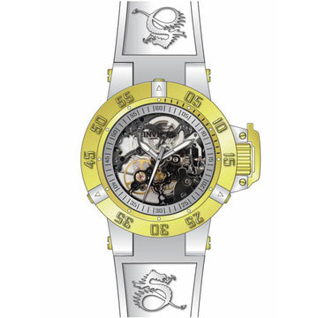 Invicta 17146 Women's Subaqua Gold Tone Bezel Skeleton Dial White Rubber Strap Mechanical Dive Watch