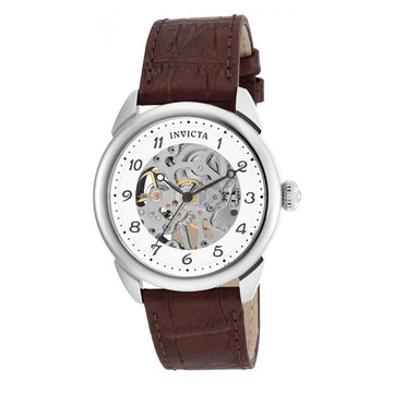 Invicta 17187 Men's Brown Leather Strap Mechanical Specialty Silver-White Skeleton Dial Watch
