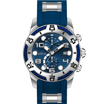 Invicta 24216 Men's Bolt Chronograph Blue Dial Steel & Blue Silicone Strap Watch
