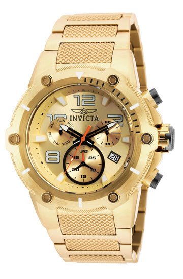 Invicta 19529 Men's Speedway Gold Dial Yellow Gold Steel Bracelet Chronograph Watch
