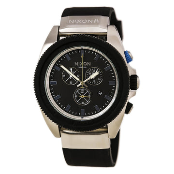 Nixon A2901529 Men's The Rover Chrono Black Silicone Strap Quartz Black Dial Date Watch