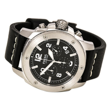 Fossil FS4928 Men's Black Leather Band Quartz Modern Machine