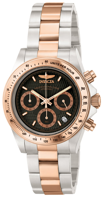 Invicta 6932 Men's Two Tone Rose Gold Steel Quartz Speedway Chrono Black Dial Date Watch
