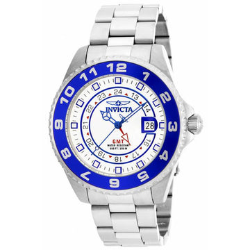 Invicta 17123 Men's Steel Bracelet Swiss Quartz Pro Diver GMT White Dial Date Watch