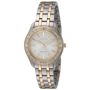 Citizen EM0244-55A Women's Two Tone Yellow Steel Eco Drive Carina Diamond White Dial Watch