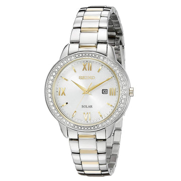 Seiko SUT246 Women's Recraft Solar Crystal Accented Bezel Two Tone Bracelet Silver Dial Date Watch