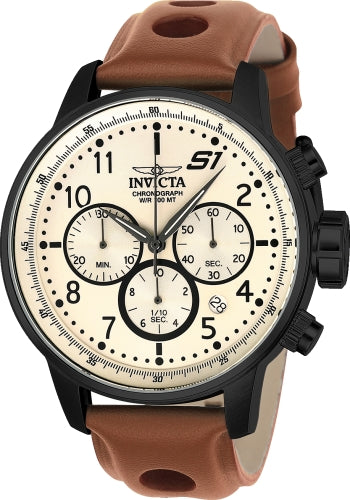 Invicta Men's Chronograph Watch - S1-Rally Beige Dial Light Brown Strap | 23109