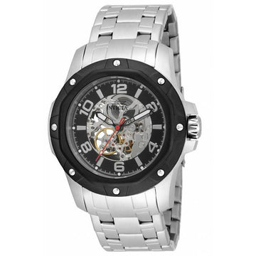 Invicta 16126 Men's Specialty Silver & Black Skeleton Dial Steel Bracelet Watch