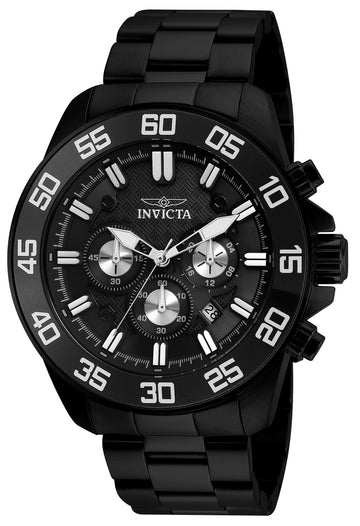 Invicta 24735 Men's Pro Diver Black Dial Black IP Steel Bracelet Chronograph Watch