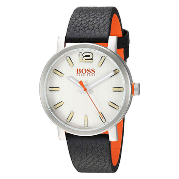 Hugo Boss Men's Strap Watch - Bilbao Silver Dial Black & Orange Leather | 1550035