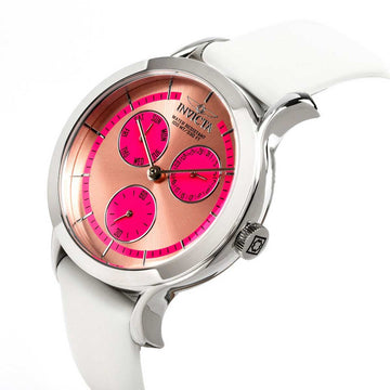 Invicta 22494 Women's Angel Rose Gold & Pink Dial White Leather Strap Watch